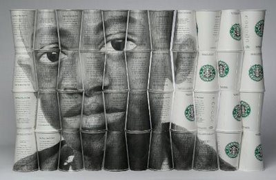 Phil Hansen's beautiful portrait on Starbucks cups